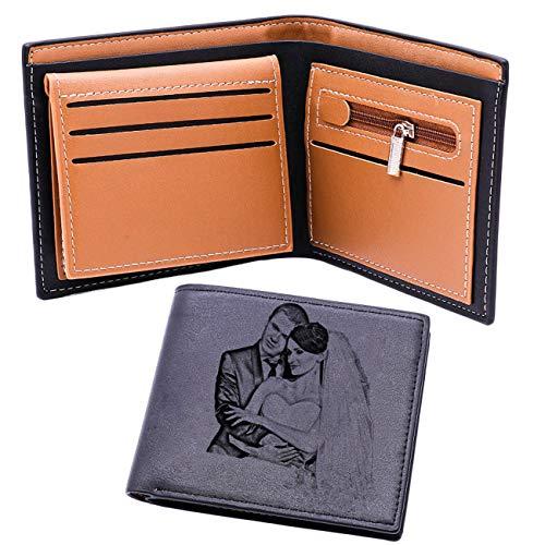 Billetera De Cuero Personalizada para Hombres Texto Y Fotos Grabados Billetera De Hombre Billetera De Regalo Genial De Navidad(Gris Doble Cara)