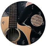 Reloj de pared redondo de 30,5 cm, funciona con pilas, con números árabes, guitarra de primer plano, decoración del hogar