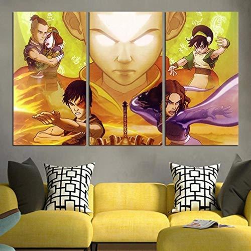 Cuadro Pared Pintura Decor Moderna Tríptico 3 Piezas Impresión Lienzo Decor Hogar Sala Estar Dormitorio Infantil Mural Regalo 50x70x3(Marco) Avatar The Last Airbender Personaje Aang