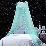 Jeteven Moskitonetz Kinder, Moskitonetz Mädchen Prinzessin Moskitonetz Moskitonetz Bett reise,Abweisendes Netz,Enthält Fluoreszierende Sterne Dekorative Schneeflocke Installationsmaterialien(Mintgrün)
