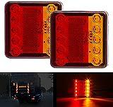 CICMOD 2 pzs Luces Traseras del Remolque 12-24V Luces de Freno LED Lámpara de Marcha Atrás Rosa y Amalillo IP67 para Camión Remolque