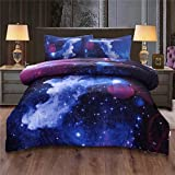 NTBED Galaxy Comforter Set King Boys Teens Sky Oil Printing Outer Space Bedding Sets Microfiber Quilt with 2 Matching Pillow Shams