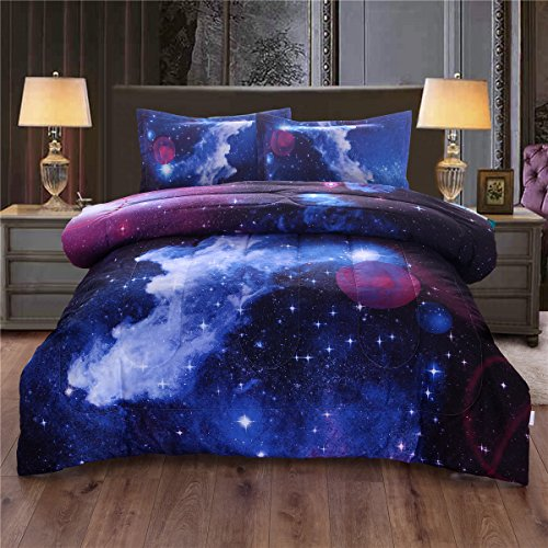 NTBED Galaxy Comforter Set Twin Size Soft Microfiber Sky Oil Printing Outer Space Bedding Sets for Teens Boys Girls Kids