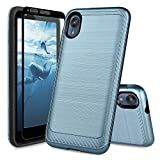 TJS Phone Case Compatible with Motorola Moto E6, with [Full Coverage Tempered Glass Screen Protector] Hybrid Shockproof Resist Protection Cover Metallic Brush Finish Hard Inner Layer (Blue)