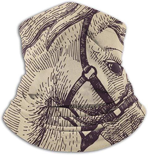 Boceto de Cabeza de Caballo Un símbolo de 2014 Cuello más cálido Sombreros Diademas Anchas Bufanda Abrigo para la Cabeza, Diadema de Polaina para el Cuello, Bandana para la Cara