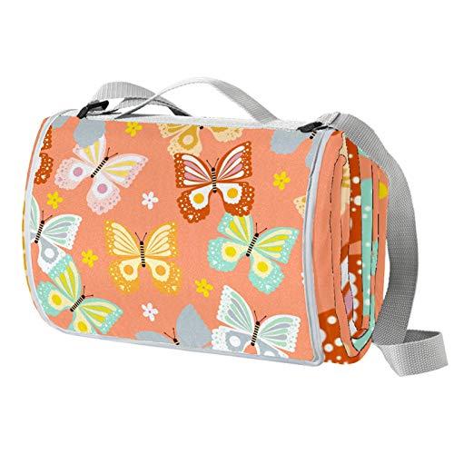 Vito546rton Wasserdichte tragbare Picknickdecke mit Schmetterlings-Druck, mit Gurt, für Camping, Wandern, Gras, Reisen, 140 x 150 cm