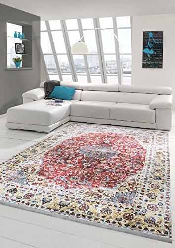 Merinos Orientteppich modern Wohnzimmerteppich Design Vintage mit Fransen in Rot Beige Größe...
