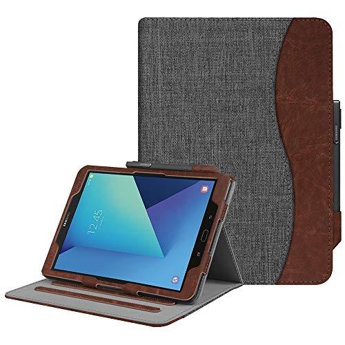 Fintie Hülle für Samsung Galaxy Tab S3 T820 / T825 (9,68 Zoll) Tablet - Multi-Winkel Betrachtung Kunstleder Schutzhülle Case mit Dokumentschlitze & Auto Schlaf/Wach Funktion, dunkelgrau
