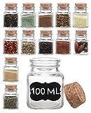 12 Especieros Cuadrados de Cristal - 100ml - Botes para Especias con Etiquetas Y...