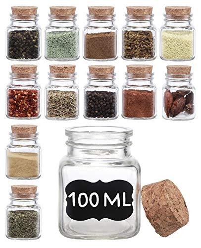 12 Especieros Cuadrados de Cristal - 100ml - Botes para Especias con Etiquetas Y Rotulador - Aptos para el Lavavajillas