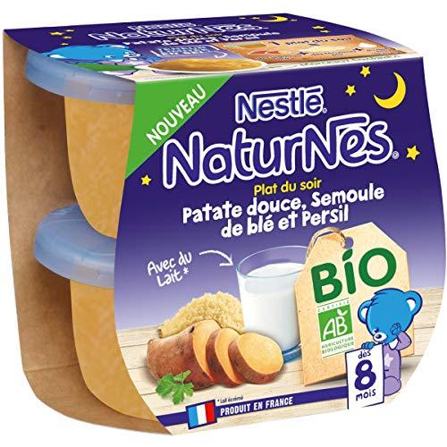 Nestlé Naturnes Bio Purée bébé Patate Douce Semoule de blé, Persil Dès 8 mois 2x190g