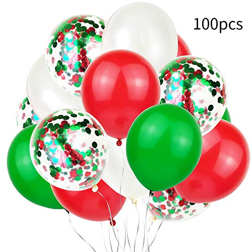 Christmas Latex Balloons Confetti Balloons, Christmas Valentine's Day and Other Party Decorations, 12 Inches 100 pieces(Red, Green, Various Confetti)