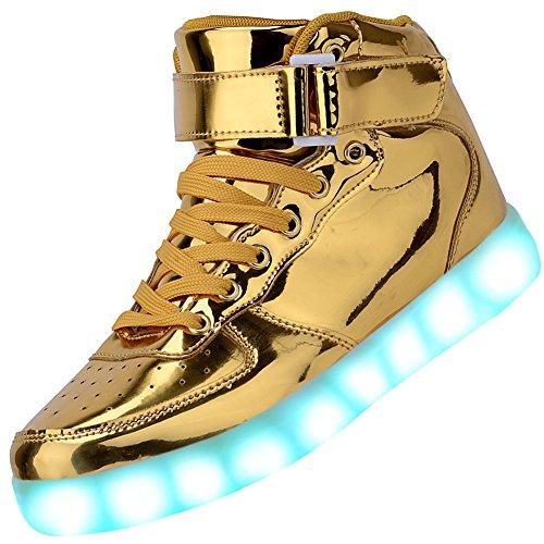 Odema Women High Top USB Charging LED Shoes Flashing Sneakers, Gold, 13 B(M) US