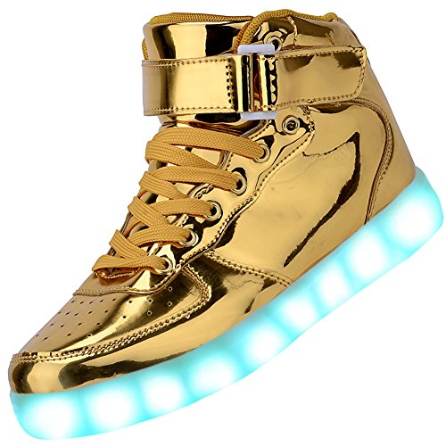 Odema Women High Top USB Charging LED Shoes Flashing Sneakers, Gold, 7 B(M) US