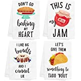 CiyvoLyeen Baking Kitchen Towels Set of 4 Dish Towels White Hand Towels Kit Printed with Funny Sayings Novelty Gift for Christmas Housewarming Birthday Party Watercolor Style