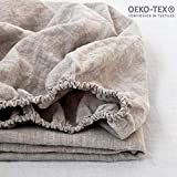 Simple&Opulence 100% Linen Fitted Sheet with 14 Inch Deep Pocket Stone Washed (Linen, King)
