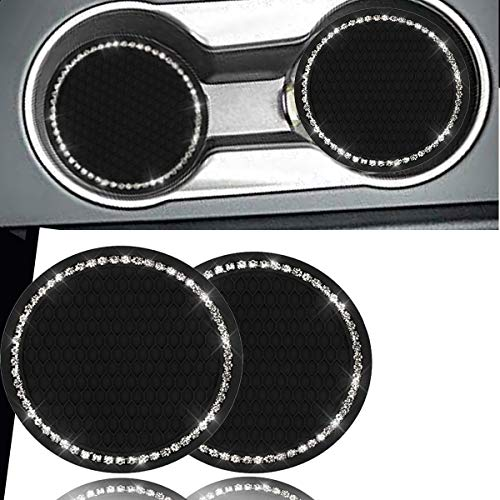 KIWEN Bling Car Cup Coaster 2PCS Bling Car Accessories 275 inchRhinestone Anti Slip Insert Coaster Suitable for Most Car Interior Car Bling for WomenPartyBirthdayGift