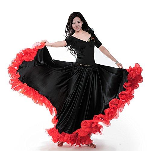 ROYAL SMEELA Bauchtanz Rock Damen ATS 25 Yard Flamenco Rock Stammes Spitze Rüschen Große Swing Röcke Tanzen Kleid Bauchtanz Kostüm Halloween Langer Rock