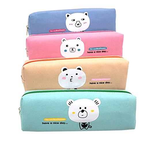 Lumanuby 4Pcs Etui à crayons Trousse à crayon Sac de Toile sac de crayons Canevas à Rayures grande capacité Sacs Cosmetic Maquillage Petite Poche Sac de rangement Vert, rose, bleu, blanc 20*6.5*5cm