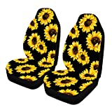 Venhoo Car Seat Covers Lovely Sunflower Universal Auto Front Seats Protector Compatible Fits for Most Car, SUV Sedan & Truck-2 Pcs