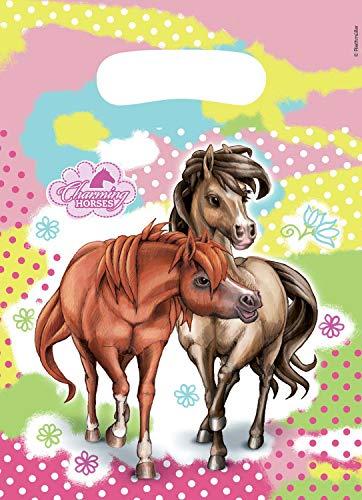 Amscan 419492 552347 - Partytüten Charming Horses, 6 Stück, 23 x 17 cm, Pferde, Mitgebsel, Kindergeburtstag
