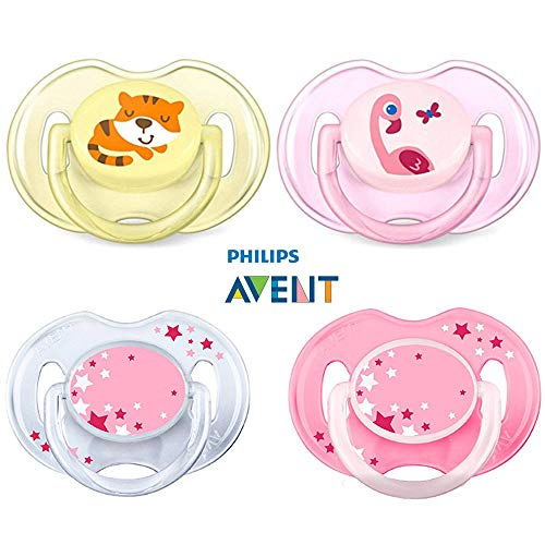 Philips Avent Schnuller Day & Night // 0-6 Mo // Girl Mix // 4er Set // inkl. aufsteckbarer Hygienekappe