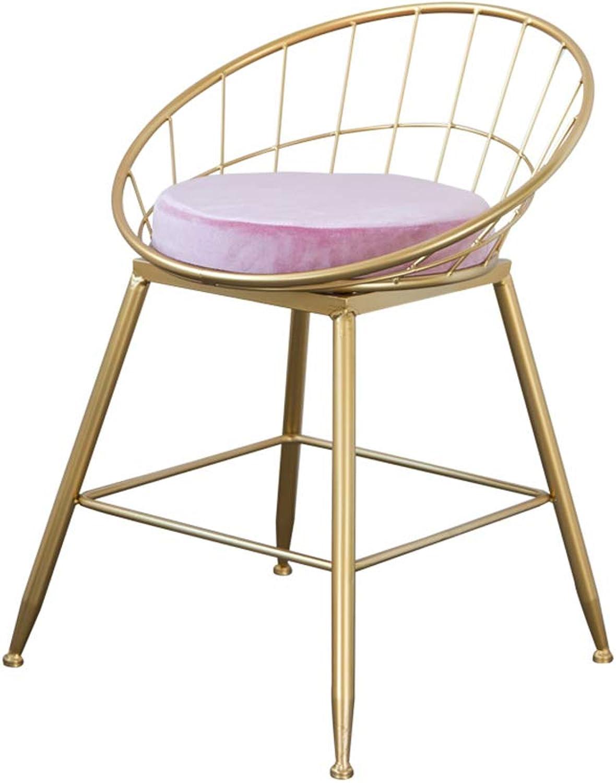 Bar Counter Chair, Iron Art Barstool gold Home High Stool Leisure Bar Stool Dining Chair Bar Chair,Pink,45CM