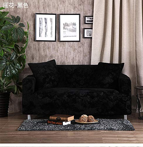 Allenger Funda de sofá Antideslizante,Stretch Pattern Sofa Cover, Seat Cover with armrests, Non-Slip Furniture Cover, Machine Washable-Black_195-230