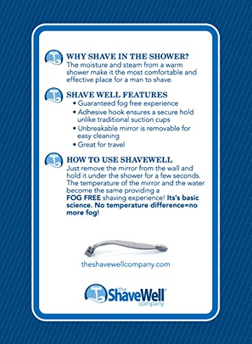 51lWsfJ8gFL - The Shave Well Company Deluxe Anti-Fog Shower Mirror | Fogless Bathroom Shaving Mirror | 33% Larger Than Original | Long-Lasting Removable Adhesive Hook