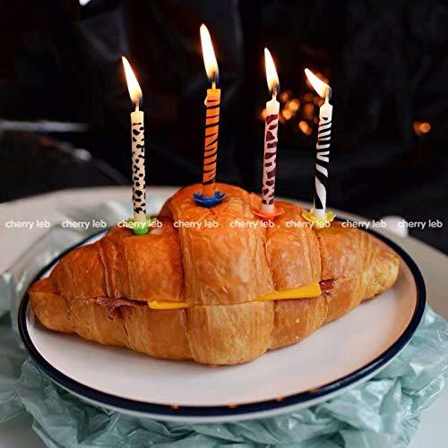 TA BEST 24 pcs Safari Wild Animal Print Birthday Cake Candles for Birthday Party Special Days Festivals