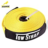 BIGTUR 66' X 2'' Recovery Tow Strap Tree Snatch Strap ,Emergency Off Road Truck Accessories Towing Winch Snatch Strap 17600lb Capacity