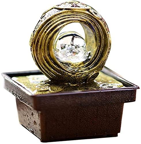 LXHJZ Fuentes Interior 6.3 Fuente Interior Agua con Bomba Moneda Oro Cobre...