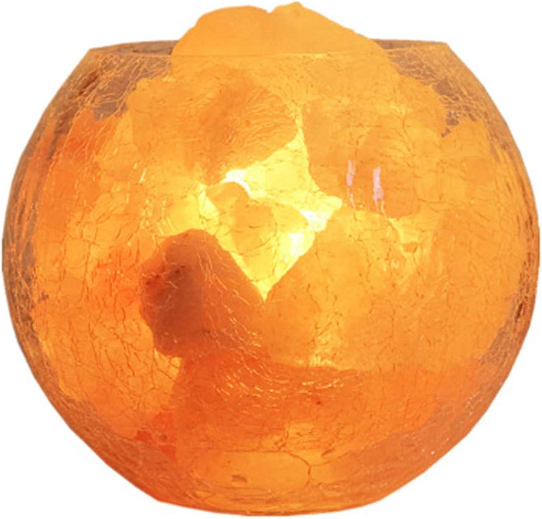 ZSH [Natürlicher Kristall] Himalaya-Salzlampe - Handgeschnitzter Salzblock mit verstellbarem Licht - Rissige Glasschüssel