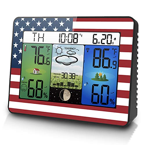 Geevon Weather Station Home Wireless Indoor Outdoor Temperature Humidity Monitor,Atomic Digital Thermometer Hygrometer Color Forecast Station with Sensor,Barometer,Backlight(American Flag Pattern)