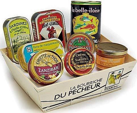 """Geschenkbox """"Petite Bourriche"""" Sardinen Thunfisch Makrele Sardinencreme Thunfischmousse Fischsuppe Rouille in Holzkorb aus der Bretagne"""