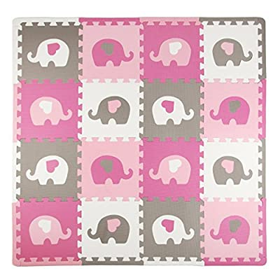 Tadpoles Baby Play Mat, Kid's Puzzle Exercise Play Mat – Soft EVA Foam Interlocking Floor Tiles, Cushioned Children's Play Mat, 16pc, Elephants, White/Hearts/Pink/Grey, 50x50