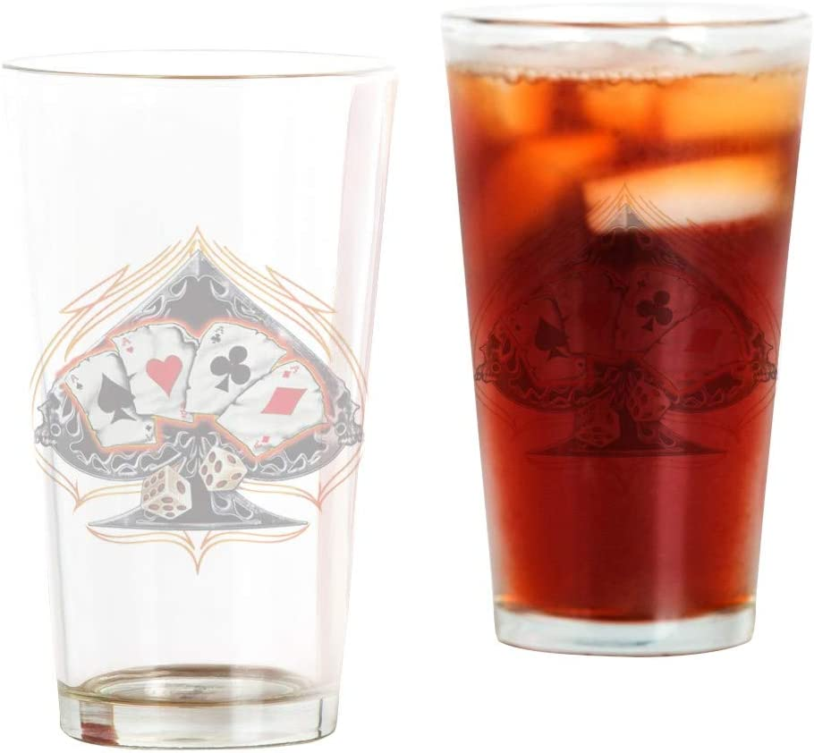 Pint Drinking Glass Four Free shipping Ultra-Cheap Deals on posting reviews of a Poker Kind Spade