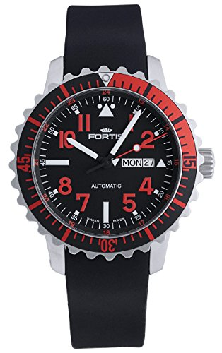 Fortis B-42 Marinemaster Day/Date GMT Automatic Steel Red Mens Strap Watch...
