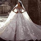 QIUXIANG Abito da sposa femminile Di lusso in rilievo abito da sposa maniche lunghe Floral Applique Abiti da sposa de (Color : Ivory, US Size : 8)