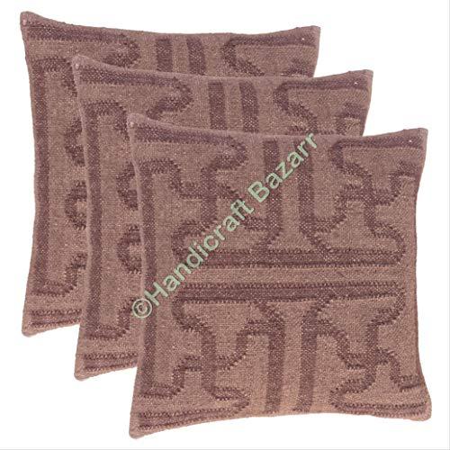 3 piezas multicolor 45,7 x 45,7 cm cojín decorativo de la manta de la alfombra tejida a mano, cojín decorativo para el hogar, cojín de kilim, funda de almohada de yute tejida a mano, cojín de yute hecha a mano, para sofá, alfombra tejida a mano, decoración del hogar, cojín para salón, tejido a mano, cojín de Kili, 45,7 x 45,7 cm, cojín decorativo, patrón 30