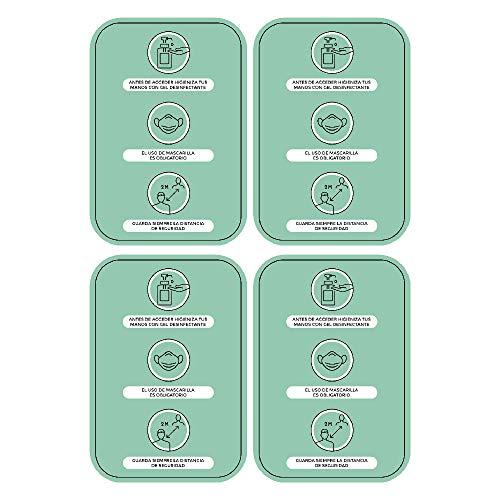 Pack 4 Vinilos Medidas y Normas de Seguridad - A4 | Adhesivos de Medidas de Protección e Higiene para paredes | Mascarilla Obligatoria y Distancia Social (VERDE)