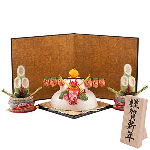 (ファンファン) FUN fun 正月飾り 迎春飾り 鏡餅 鏡もち 特大お正月セット ちぎり和紙 謹賀新年 間口55*奥行35*高さ30(約cm) 日本製