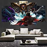 ZNXJJ Pintura Moderna en Lienzo para Sala de Estar Decoración para el hogar Impresiones en HD 5 Paneles League of Legends Abstract Game Posters Wall ArtsFrame30*40cmx2 30 * 60cmx2 30 * 80cm