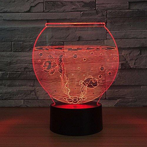 DGTJSISHIJIU Fish Tank Shape 3D Night Light LED Illusion USB RGB Night Light Desk Lamp Home Decor Atmosphere Decor Lamp