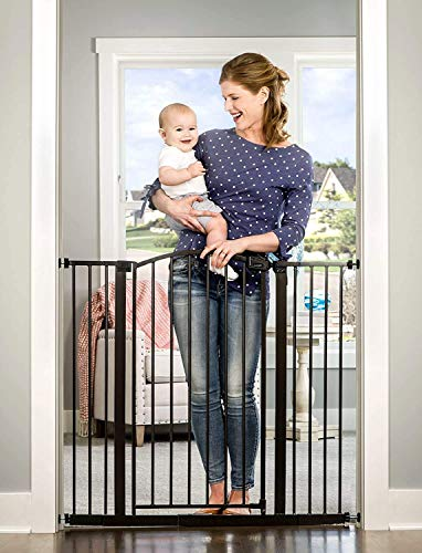 Regalo Easy Step Extra Tall Arched Décor Walk Thru Baby Gate, Includes 4-Inch Extension Kit, 4 Pack Pressure Mount Kit and 4 Pack Wall Mount Kit, Bronze