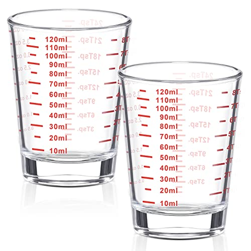 2 Pieces 4 oz Measuring Cup Shot Glass Espresso Shot Glass Liquid Heavy Glass Wine Glass (Red Letters)