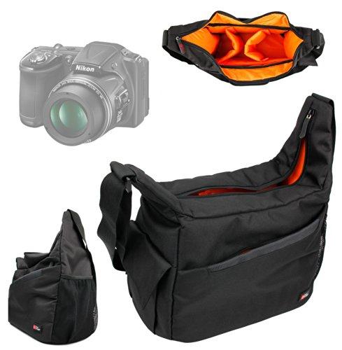 DURAGADGET Mochila Bandolera con Compartimentos para Cámara Nikon Coolpix L830 / P7800 Bandolera Al Agua