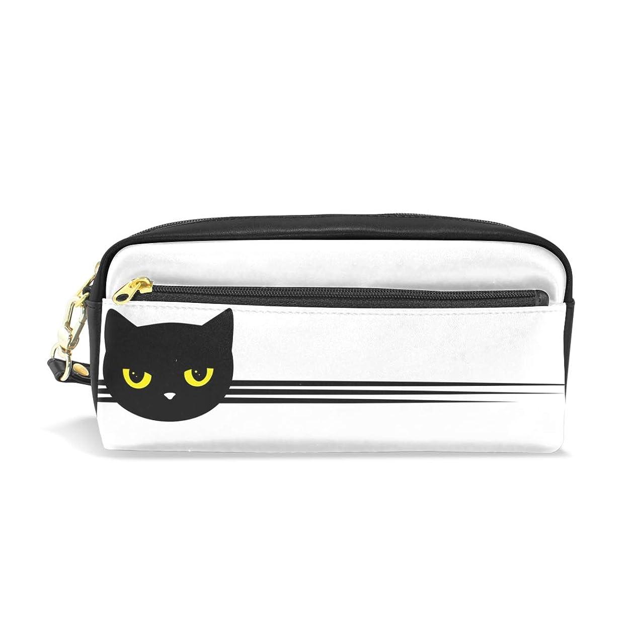 電信ビートけがをするAOMOKI ペンケース 小物入り 多機能バッグ ペンポーチ 化粧ポーチ おしゃれ かわいい 男女兼用 ギフト プレゼント 黒猫 猫柄