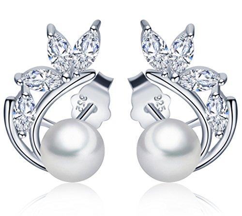 Infinito U- Pendientes Plata 925 Forma de Hoja Brillante con 6 mm Perla Studs para Mujeres Niñas