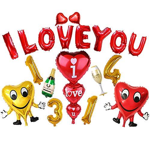 Longra bruiloft ballonnen set met rood I Love You + Gold 1314